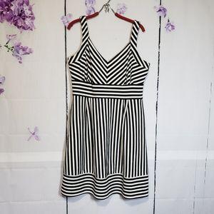 Maison Jules Striped Fit & Flare Dress XL